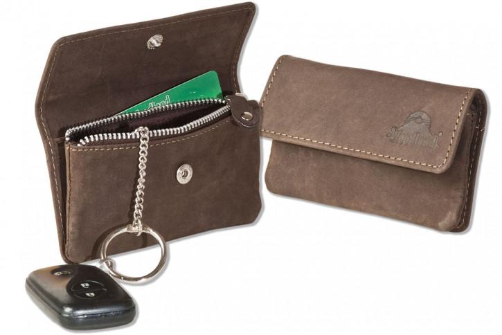 Woodland® RFID CAR PROTECTION Auto-Schlüsseltasche aus naturbelassenem Büffelleder in Dunkelbraun/Taupe