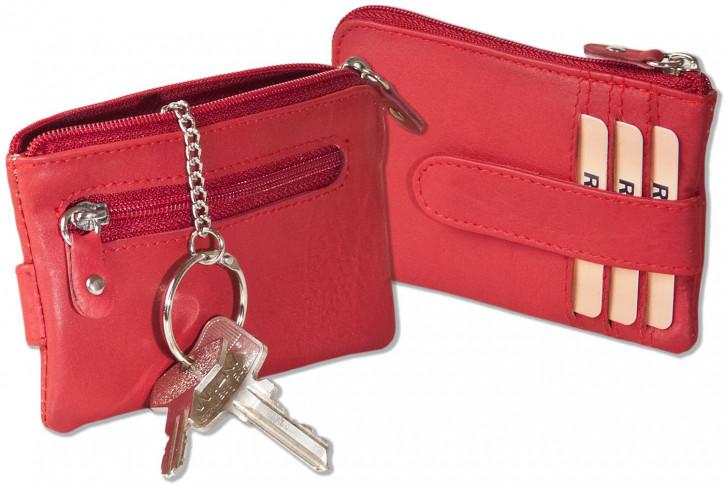 Rote Schlüsseltasche mit 3 Kreditkartenfächern und kleinem Geldfach aus Rind-Nappaleder von Rinaldo®
