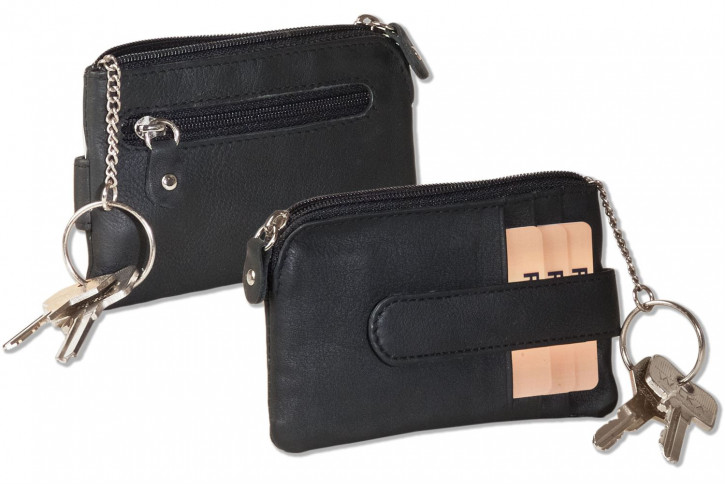 Anthracite key bag with 3 credit card compartments and a small money compartment made of cowhide nappa leather from Rinaldo®