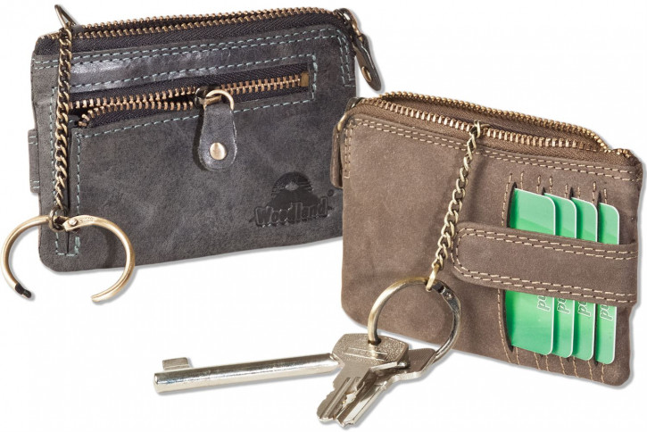 Woodland® Schlüsseltasche mit Kreditkartenfächern und kleinem Geldfach aus weichem, naturbelassenem Büffelleder