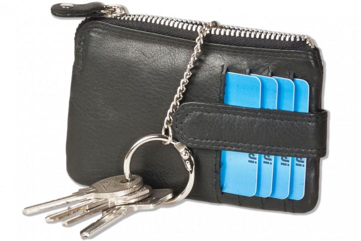 Rimbaldi® Schlüsseltasche mit 4 Kreditkartenfächern und kleinem Geldfach aus weichem, besonders hochwertigem Rindsleder in Schwarz