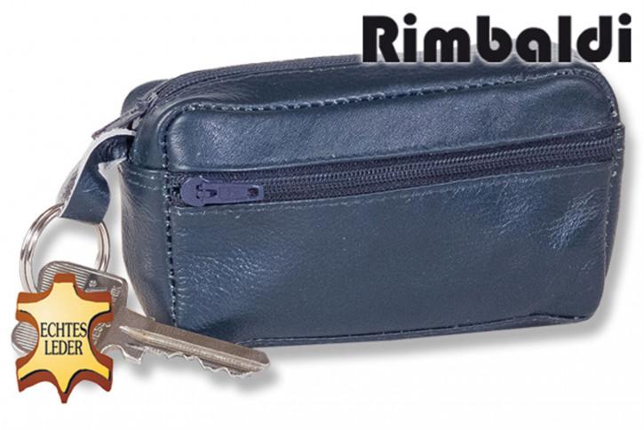 Rinaldo® Große Schlüsseltasche mit Extrafach und Schnellwechsel-Sicherheitsring aus weichem, naturbelassenem Rindsleder in Dunkelblau