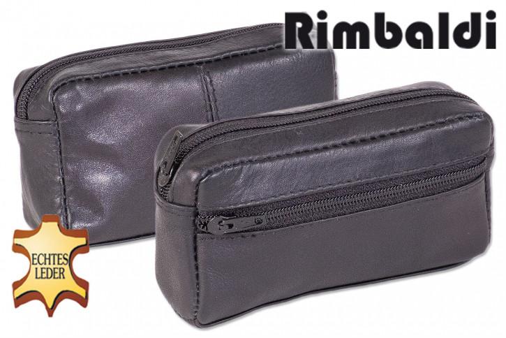 Rinaldo® Große Schlüsseltasche mit Extrafach und Schnellwechsel-Sicherheitsring aus weichem, naturbelassenem Rindsleder in Schwarz