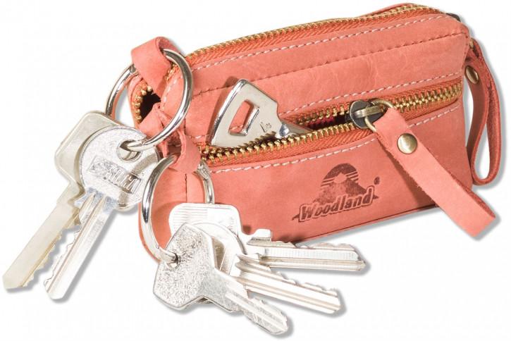 Woodland® Leder-Schlüsseltasche mit 2 Schlüsselringe aus weichem, naturbelassenem Büffelleder in Rot