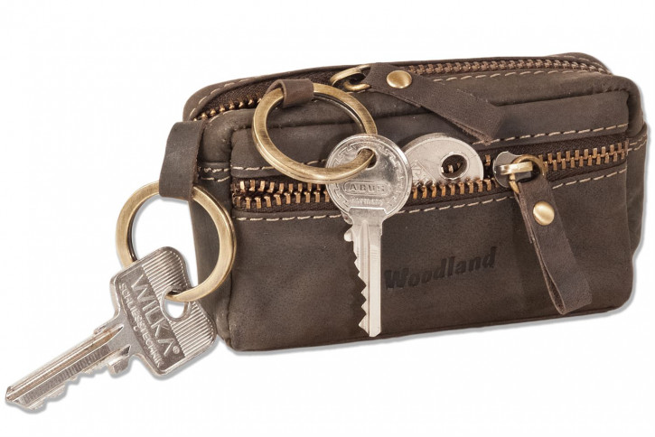 Woodland® Leder-Schlüsseltasche mit 2 Schlüsselringen aus weichem, naturbelassenem Büffelleder in Dunkelbraun/Taupe