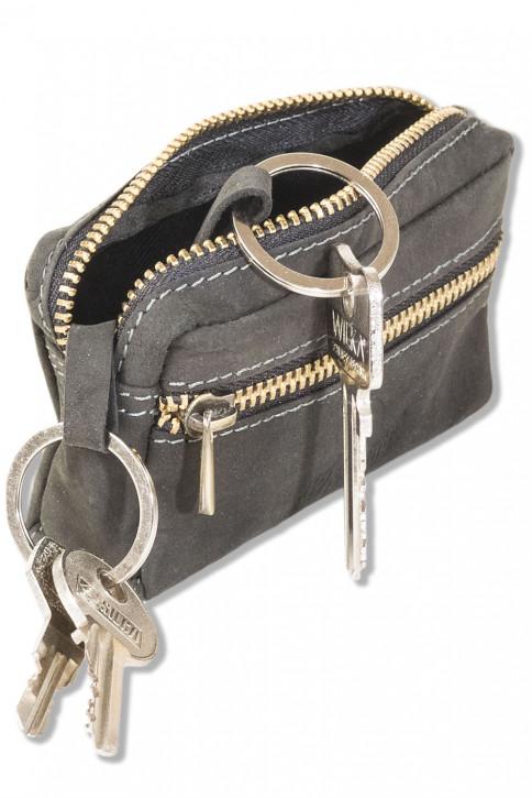 Woodland® Leder-Schlüsseltasche mit 2 Schlüsselringe aus weichem, naturbelassenem Büffelleder in Anthrazit