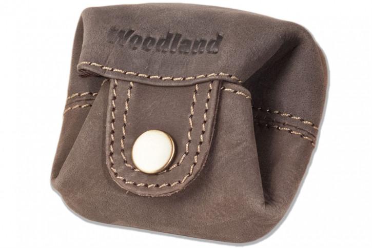 Woodland® Micro-Pocket für Münzen oder Kleinteile aus weichem, naturbelassenem Büffelleder in Dunkelbraun/Taupe