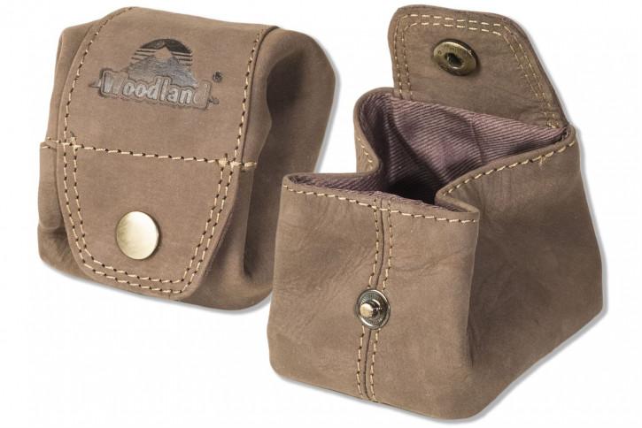 Woodland® Mini-Pocket für Münzen oder Kleinteile aus weichem, naturbelassenem Büffelleder in Dunkelbraun/Taupe