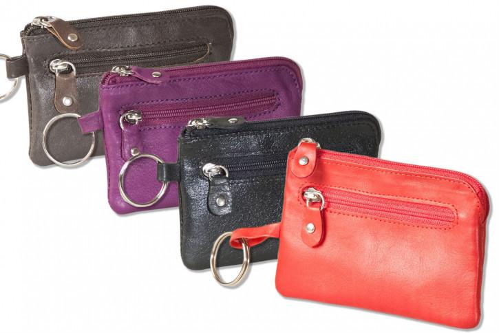 Rinaldo® Leder-Schlüsseltasche mit Schlüsselkette, Ring und zusätzlichem Außenring aus weichem, naturbelassenem Rindsleder