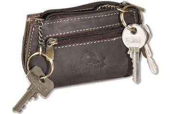 Woodland® Schlüsseltasche, erweiterbar für mehrere Schlüssel aus naturbelassenem Büffelleder in Dunkelbraun/Taupe