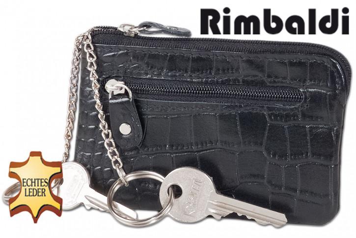 Rimbaldi® Leder-Schlüsseltasche mit 2 Schlüsselketten und Ring aus weichem, naturbelassenem Kalbsleder in Schwarz mit Krokoprägung