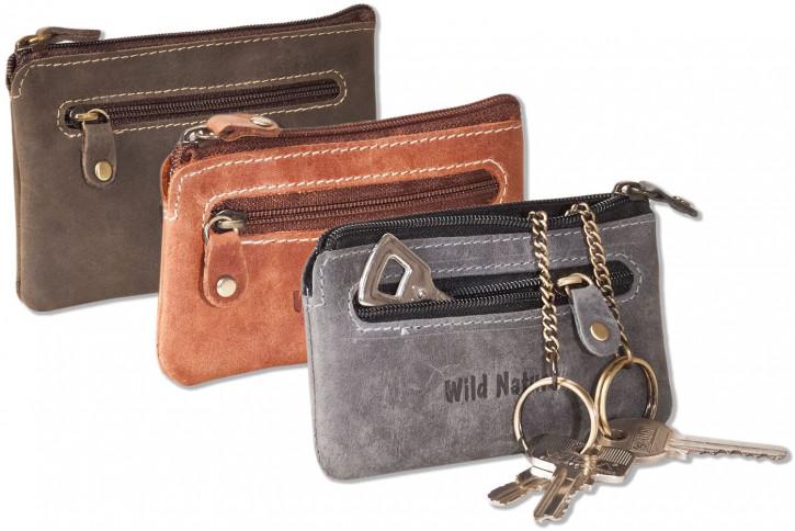 Wild Nature® Leder-Schlüsseltasche mit 2 Schlüsselketten aus weichem, naturbelassenem geöltem Büffelleder im Vintage-Look