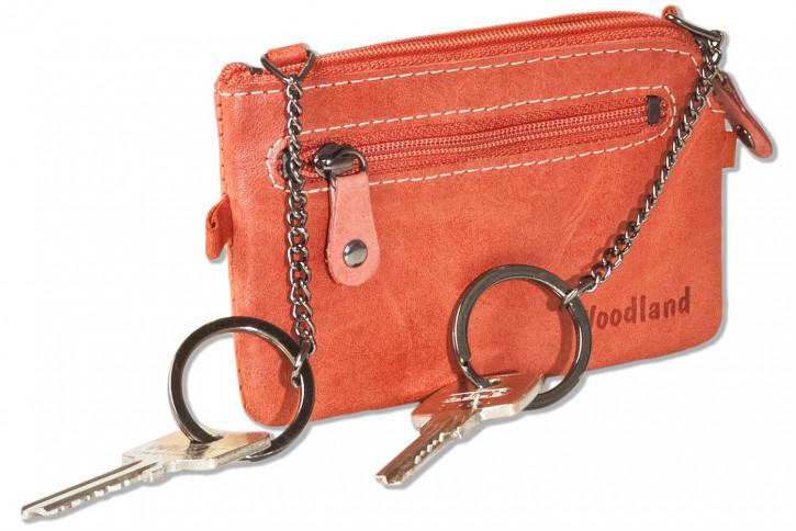 Woodland® Leder-Schlüsseltasche mit 2 Schlüsselketten aus weichem, naturbelassenem Büffelleder in Rot