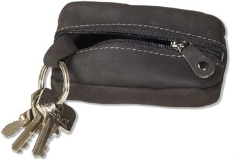 Woodland® Schlüsseltasche mit Platz für viele Schlüssel aus naturbelassenem Büffelleder in Anthrazit
