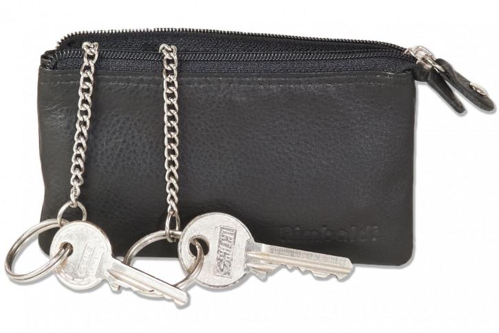 Rimbaldi® Doppelfach-Schlüsseltasche mit getrennten Fächern aus naturbelassenem Rindsleder in Schwarz