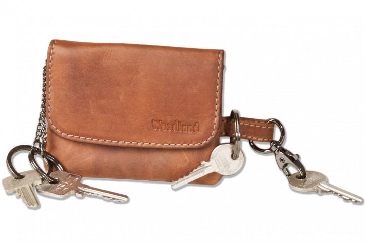 Woodland® Doppel-Schlüsselmäpchen mit Karabinerhaken und 2 Schlüsselringen aus OIL-PULL UP Rindsleder im Vintage-Look/Cognac