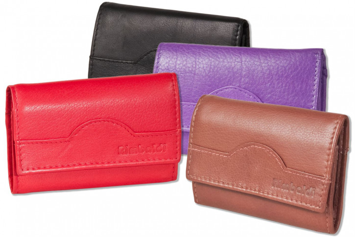 Rimbaldi®- Key bag with 6 key hooks and purse made of natural cow leather in red