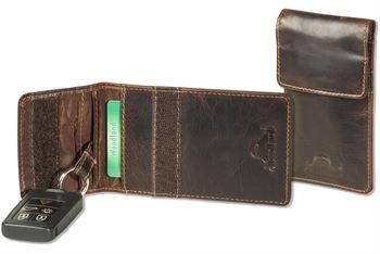Woodland® KEYLESS-GO Funkwellenblocker Auto-Schlüsseltasche aus naturbelassenem Rindsleder in Multicolor/Dunkelbraun