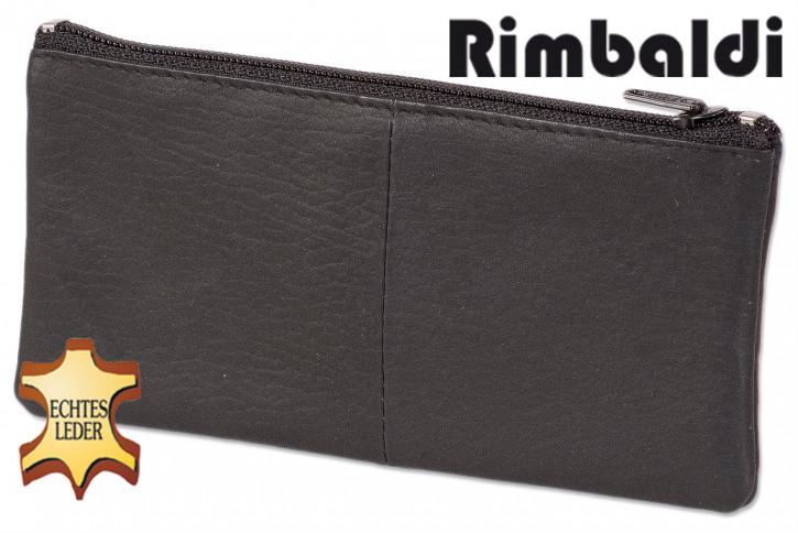 Rinaldo® Schlüsseltasche für besonders lange Schlüssel mit Schnellverschluss-Ring aus naturbelassenem Rindsleder in Schwarz