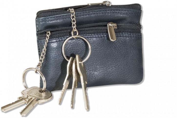 Rimbaldi® Doppel-Schlüsseltasche mit großem Extrafach mit 2 Schlüsselketten für den Autoschlüssel aus weichem, naturbelassenem Rindsleder in Blau