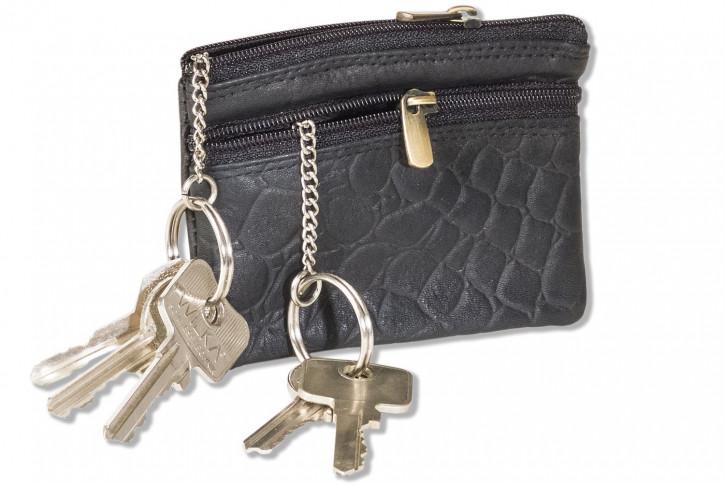 Rimbaldi®  Doppel-Schlüsseltasche mit großem Extrafach für den Autoschlüssel aus Rindsleder in Schwarz im Krokodesign