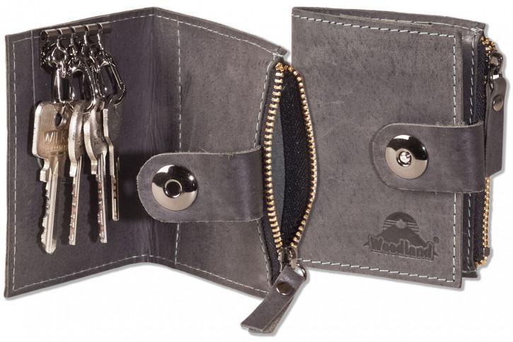 Woodland® Leder-Schlüsseltasche für 4 Schlüssel und kleinem Reißverschluss-Münzfach aus naturbelassenem, geölten Büffelleder in Anthrazit