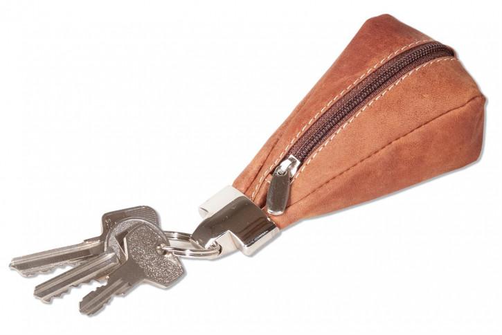 Wild Nature® Luxus-Schlüsseletui mit Extratasche aus naturbelassenem Büffelleder in Cognac/Vintage