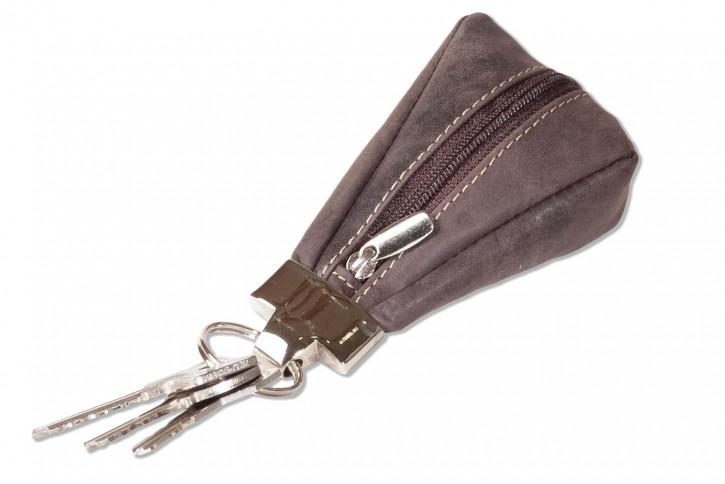 Wild Nature® Luxus-Schlüsseletui mit Extratasche aus naturbelassenem Büffelleder in Dunkelbran/Vintage