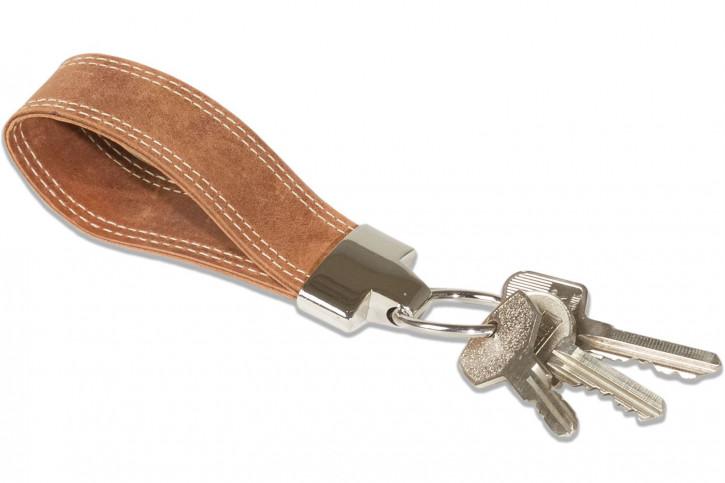 Wild Nature® Schlüssel-Handschlaufe aus geöltem Büffelleder im Vintage-Look, Cognac