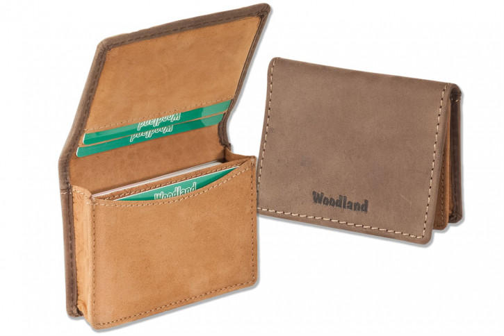 Woodland® Business card holder for 22 credit-cards or 44 name-cards made of soft, untreated buffalo leather in dark brown - cognac combination