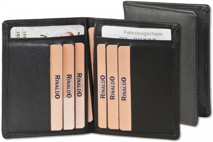 Rinaldo® Ausweis-/Kreditkartenetui für 6 Kreditkarten und 4 Ausweise aus Rind-Nappaleder in Schwarz