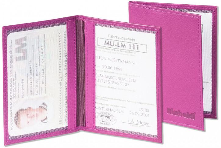 Rimbaldi® Lederetui für den alten Personalausweis und den KFZ-Schein aus weichem, naturbelassenem Rindsleder in Weinrot