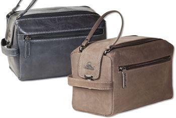 Woodland® Große Kulturtasche aus weichem, naturbelassenem Büffelleder