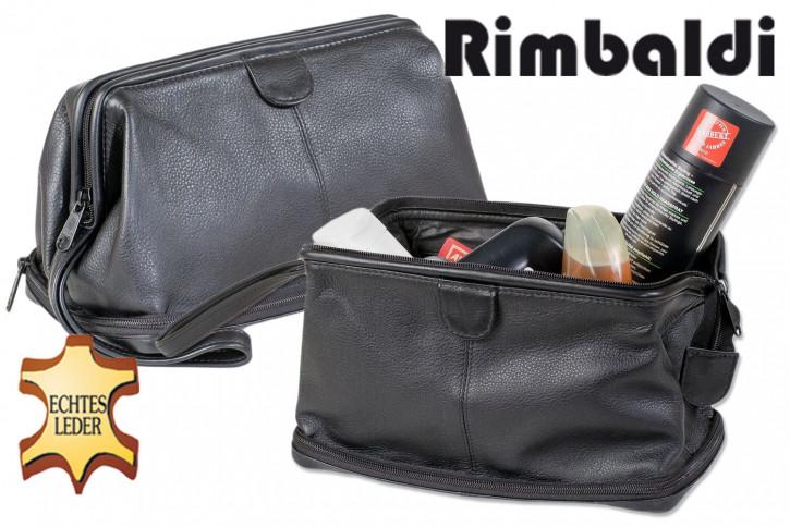 Rimbaldi® Große Kulturtasche aus Leder mit Extrafach im Boden aus weichem, hochwertigem Rind-Nappaleder in Schwarz