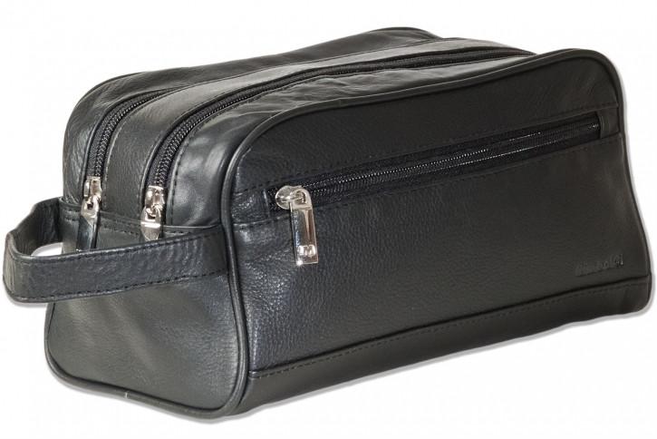 Rimbaldi® Doppelkammer-Kulturtasche mit enorm viel Platz aus weichem, hochwertigem Rind-Nappaleder in Schwarz