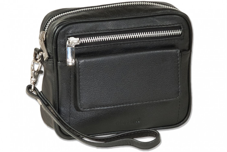 Rimbaldi® beltbag with practical leather loop made of high-quality cowhide nappa leather in black