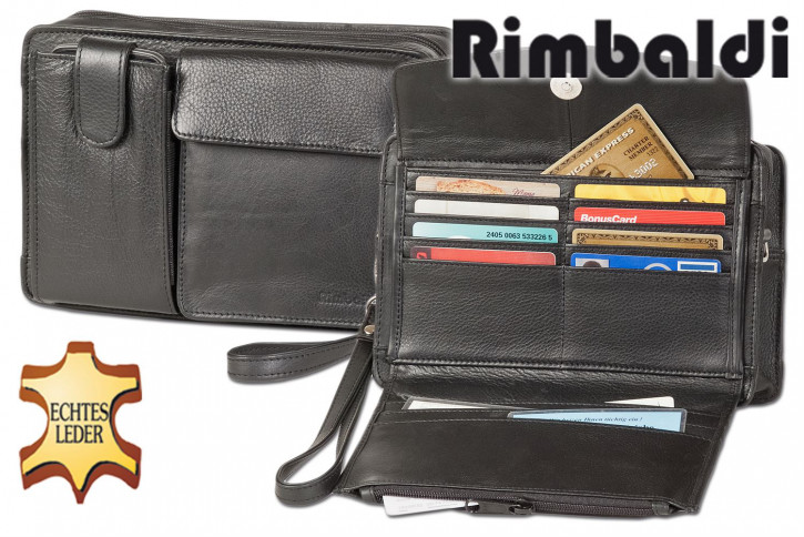 Rimbaldi® Handgelenk- & Schultertasche für Reisen und unterwegs, mit großem Smartphonefach aus weichem, hochwertigem Rind-Nappaleder in Schwarz