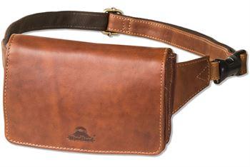 Woodland® Kompakte Luxus-Bauchtasche - extrem Flach und aus feinem, naturbelassenem Büffelleder in Multicolor/Cognac
