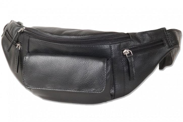 Rimbaldi® Große Bauchtasche mit viel Platz aus weichem, naturbelassenem Nappaleder in Schwarz