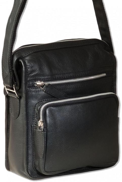 Rimbaldi® Luxus-Umhängetasche der Spitzenklasse aus weichem, hochwertigem Rind-Nappaleder in Schwarz