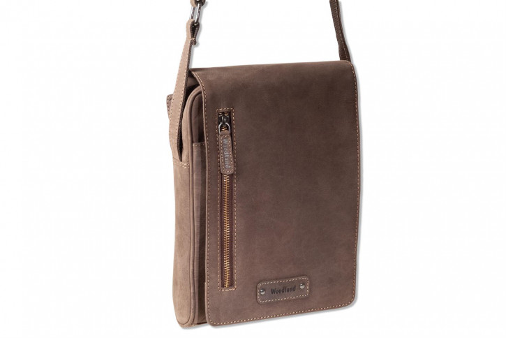 Woodland® Luxus-Umhängetasche aus naturbelassenem, weichem Büffelleder in Dunkelbraun/Taupe