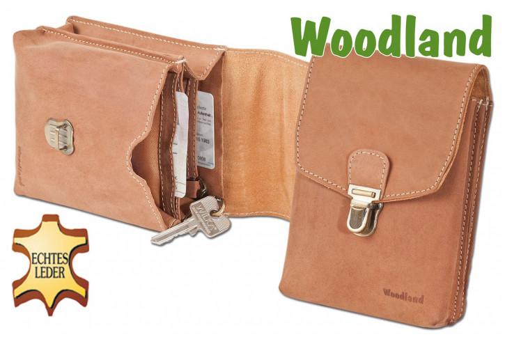 Woodland® Gürteltasche mit Schnalle aus weichem, naturbelassenen Büffelleder in Cognac