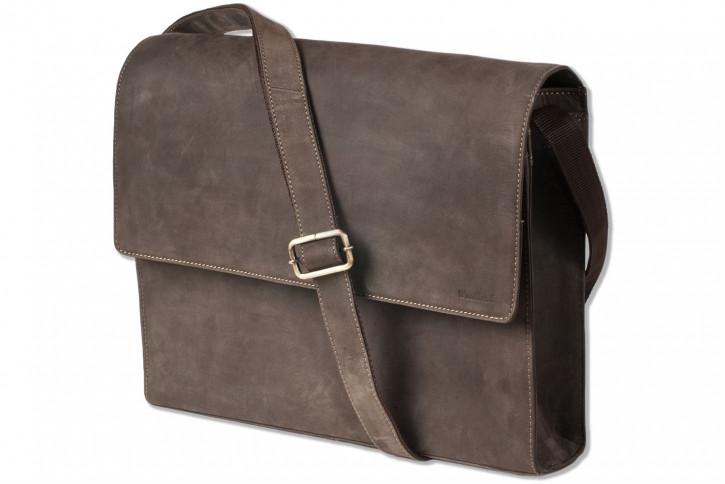 Woodland® Luxus-Umhängetasche mit Notebookfach aus naturbelassenem Büffelleder in Dunkelbraun/Taupe