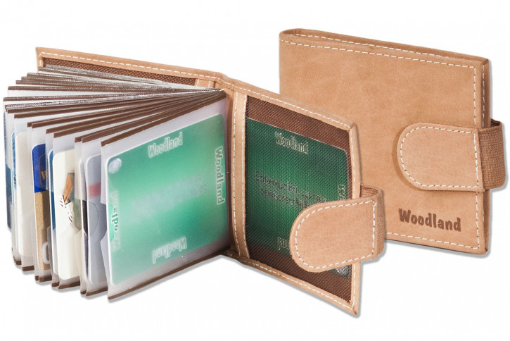 Woodland® Credit card holder for 18 cards or 38 business cards, made of soft, untreated buffalo leather in cognac