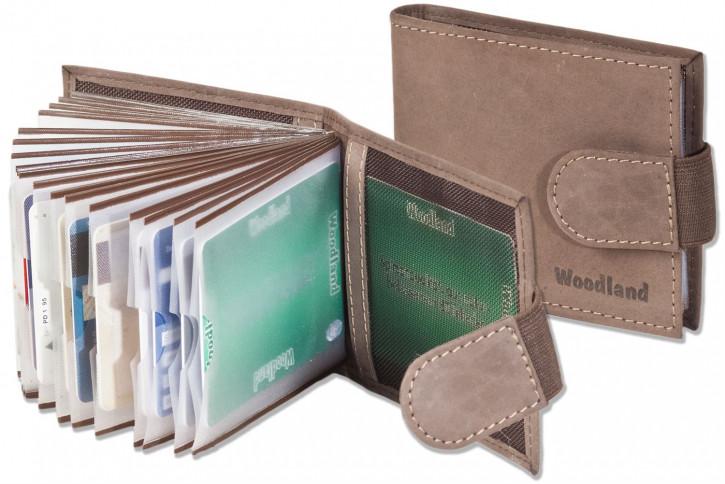 Woodland® Kreditkartenetui für 18 Kreditkarten oder 38 Visitenkarten aus weichem, naturbelassenem Büffelleder in Dunkelbraun/Taupe