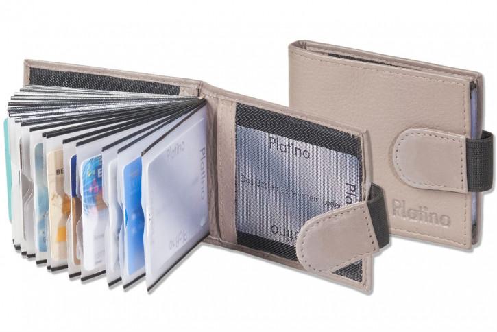 Platino - Kreditkartenetui für 18 Kreditkarten oder 38 Visitenkarten aus weichem, naturbelassenem Rindsleder in Dunkelbraun/Taupe