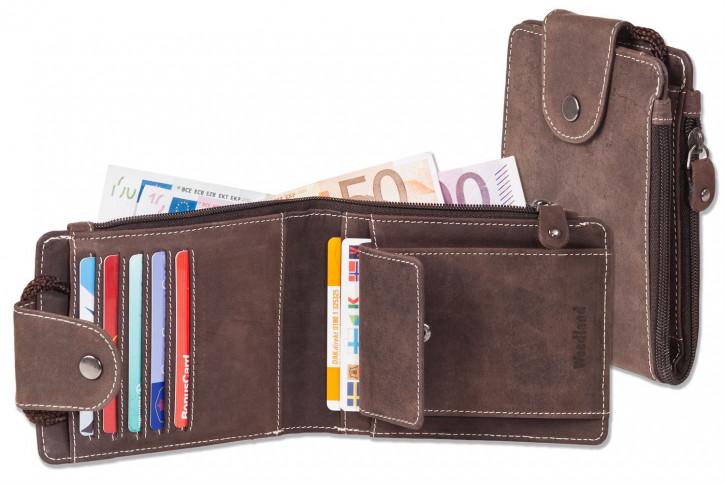 Woodland® Multibag 3 in 1: Geldbörse - Brustbeutel - Gürteltasche, alles in einem! Aus weichem, naturbelassenem Büffelleder in Dunkelbraun/Taupe