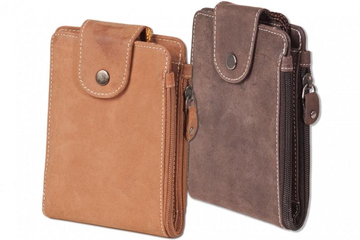 Woodland® Multibag 3 in 1: Geldbörse - Brustbeutel - Gürteltasche, alles in einem! Aus weichem, naturbelassenem Büffelleder