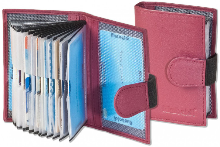 Rimbaldi® XXL-Kreditkartenetui mit 20 Kartenfächern aus weichem, naturbelassenem Rindsleder in Weinrot