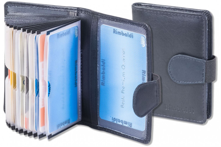 Rimbaldi® XXL-Kreditkartenetui mit 20 Kartenfächern aus weichem, naturbelassenem Rindsleder in Royalblau